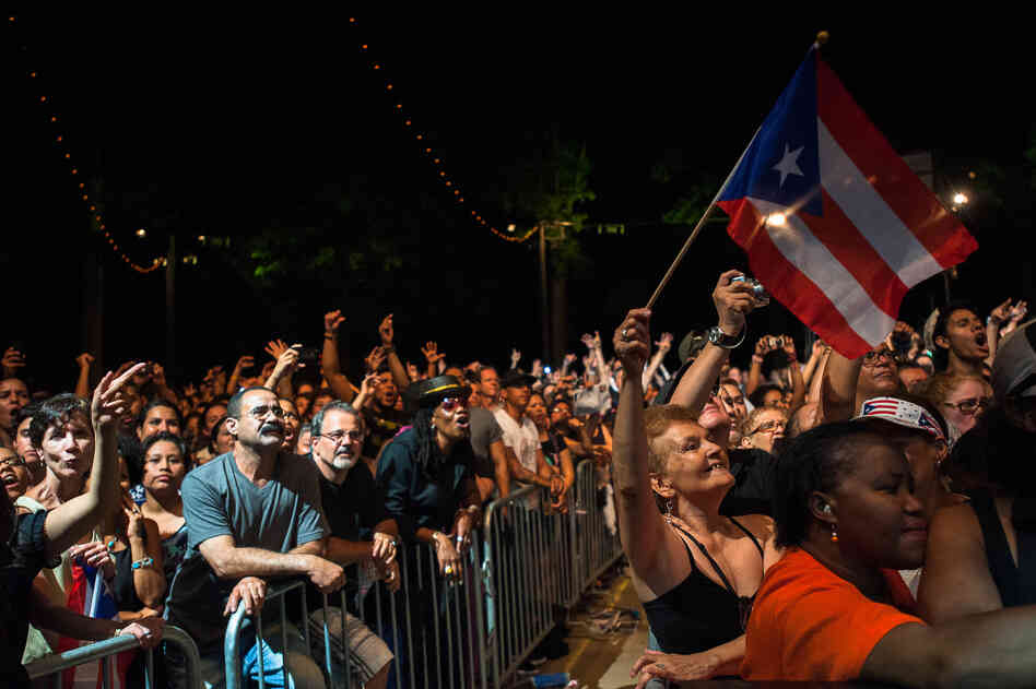 Puerto Rican flags waved throughout the crowd.