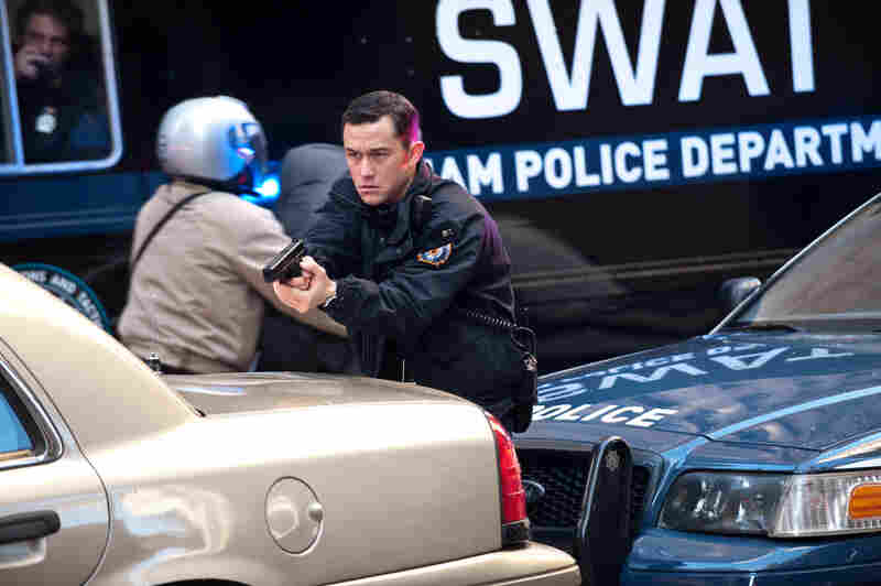 Joseph Gordon-Levitt as police officer John Blake in The Dark Knight Rises.