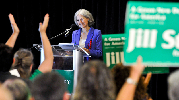 Green Party presidential candidate Jill Stein delivers her acceptance speech at the party's convention in Baltimore on Saturday. (AP)
