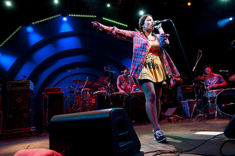 Chilean MC Ana Tijoux opened for Calle 13 during the 2012 Latin Alternative Music Conference showcase at Celebrate Brooklyn.