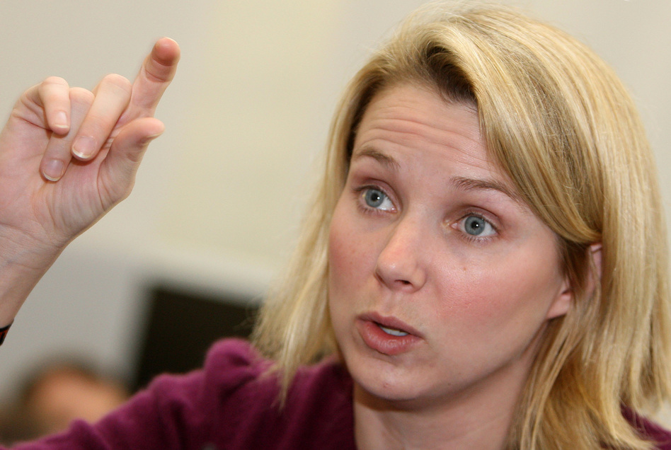 Marissa Ann Mayer gestures as she gives an interview in January of 2008.