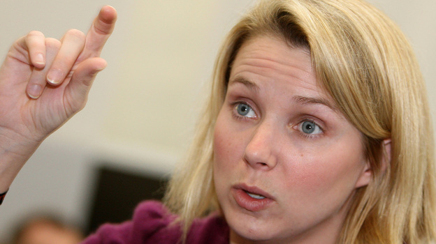 Marissa Ann Mayer gestures as she gives an interview in January of 2008. (AFP/Getty Images)