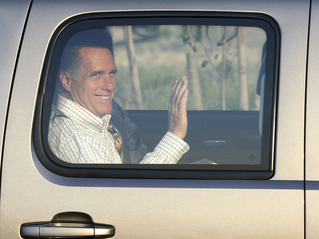 Mitt Romney arrives at the Utah Olympic Park for a private dinner during a donor's conference in Park City, Utah, on June 22. (AP)