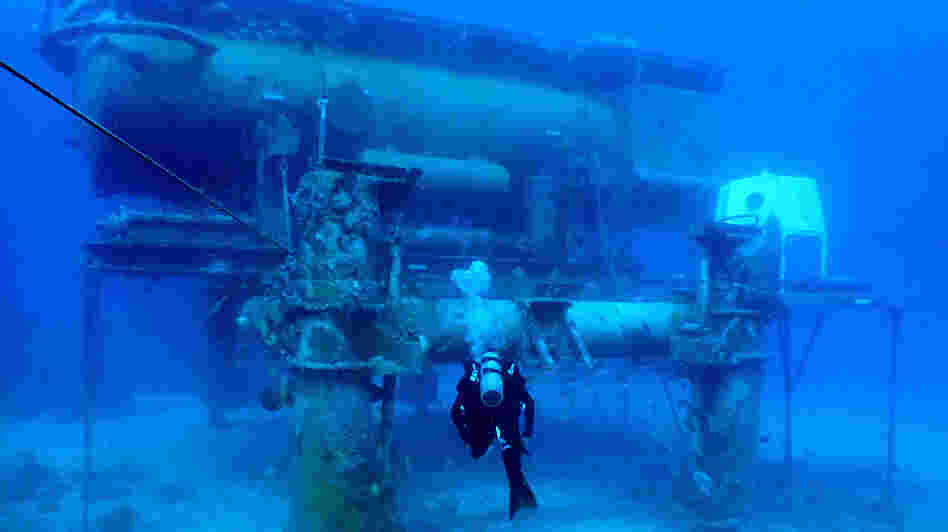A diver swims by the Aquarius Reef Base, a permanent working undersea laboratory off Key Largo, Fla., in the Florida Keys National Marine Sanctuary. The Obama administration cut the lab's funding, and now scientists are trying to save it.