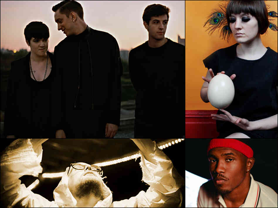 The xx (clockwise from upper left), Cate Le Bon, Frank Ocean and Dan Deacon.