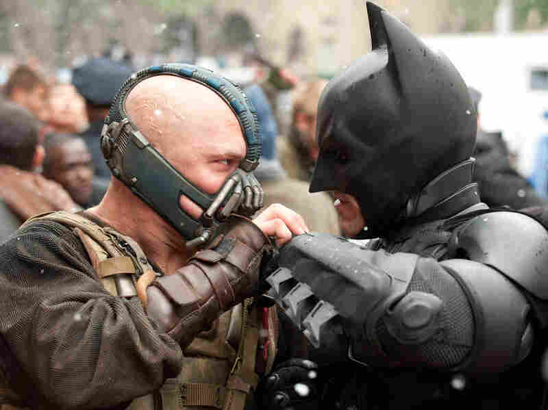 Batman's enemy in The Dark Knight Rises is the brutish Bane (Tom Hardy), who delivers a beating that sends Bruce Wayne back to the gym.
