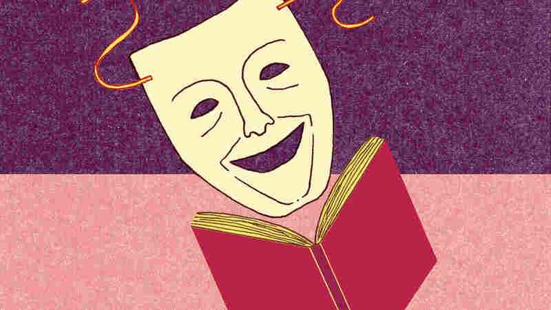 Illustration: A comedy mask reads a book.