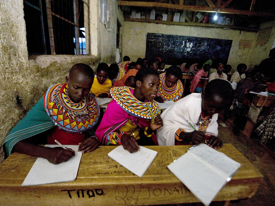 Kenya's attempt at universal education faces multiple challenges. In many rural areas, families want their kids to work during the day. At this school in central Kenya, Samburu kids who herd the family livestock are now taking classes in the evening.