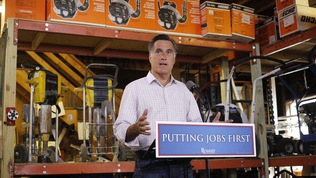 Republican presidential candidate Mitt Romney speaks about job numbers July 6 at Bradley's Hardware in Wolfeboro, N.H. (AP)