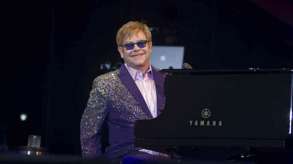 Elton John performs in Ibiza earlier