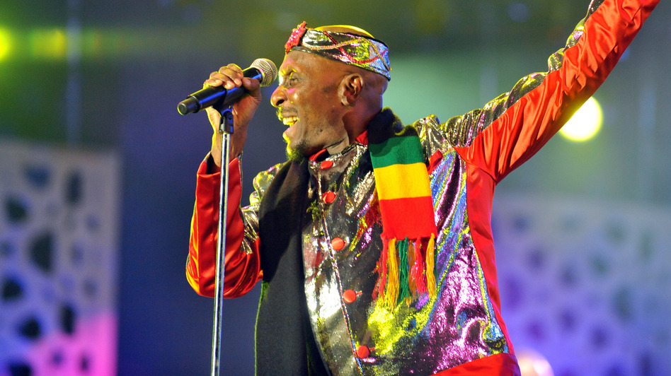 Jamaican singer Jimmy Cliff performs in Rabat, Morocco, in May. His new album is titled <em>Rebirth</em>.