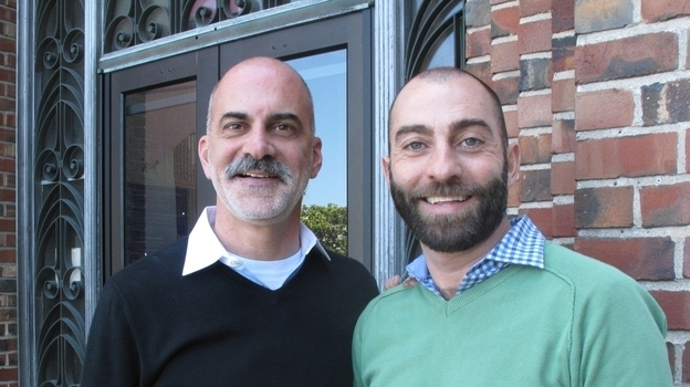 Kevin Kirk (left) and James Callahan have been together for more than five years. Recently they sat down and talked about whether Kevin, who is HIV-negative, might want to start taking Truvada. (NPR)