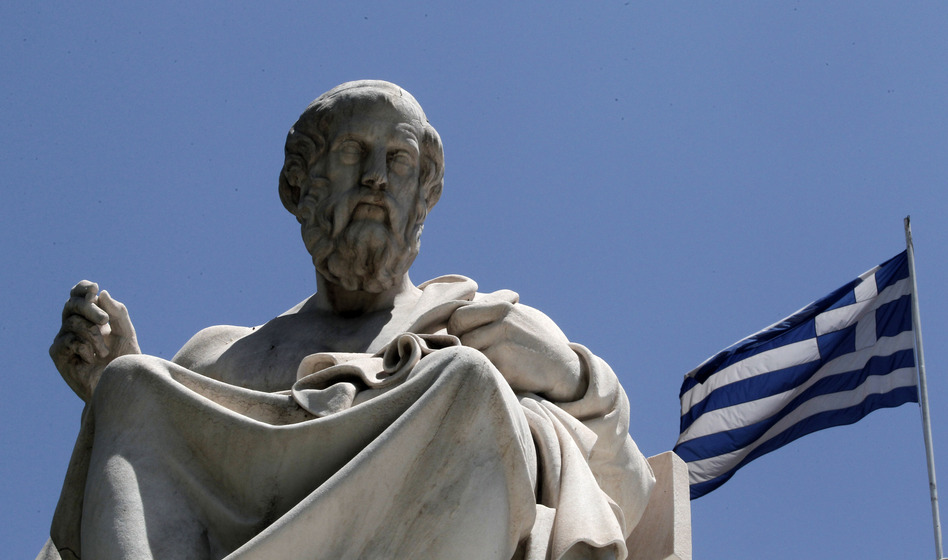 The marble statue of Plato stands in front of the Athens Academy in Athens. The ancient Greek philosopher had his doubts about democracy.