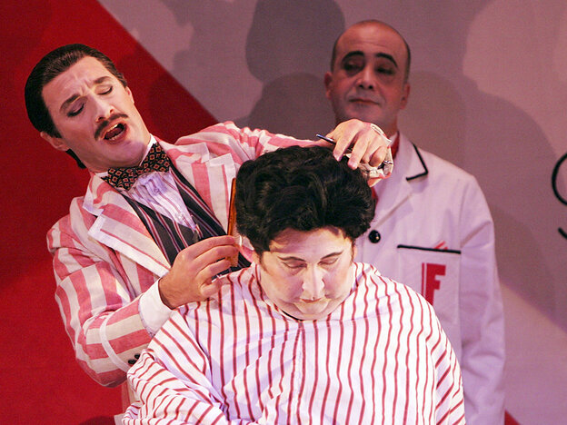 Jose Carbo (left) is the wily title character in a Sydney Opera House production of Rossini's Il barbieri di Siviglia.