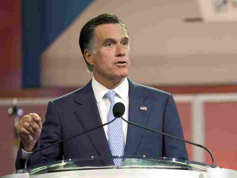 Republican presidential Mitt Romney addresses the NAACP National Convention at the Geoerge R. Brown Covention Center on July 11, 2012 in Houston, Texas.