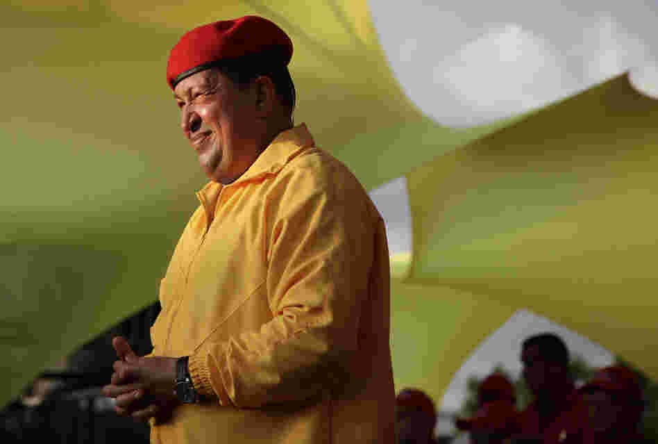 Venezuela's President Hugo Chavez smiles at a campaign rally in Barquisimeto, Venezuela on Saturday.