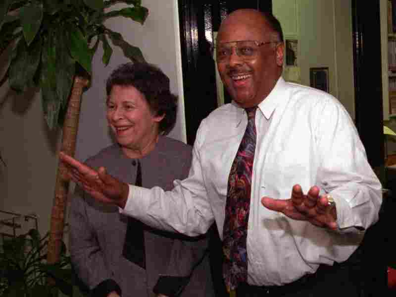 William Raspberry celebrates after it was announced that he won the 1994 Pulitzer Prize for commentary.