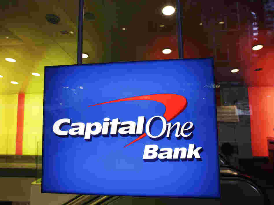 A New York office of Capital One Bank in May. The company on Tuesday settled allegations that it misled credit card customers.
