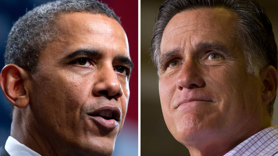 President Obama leads Mitt Romney 47 percent to 45 percent among all voters in a new NPR poll. But the two are tied among voters from 12 battleground states. (AP)