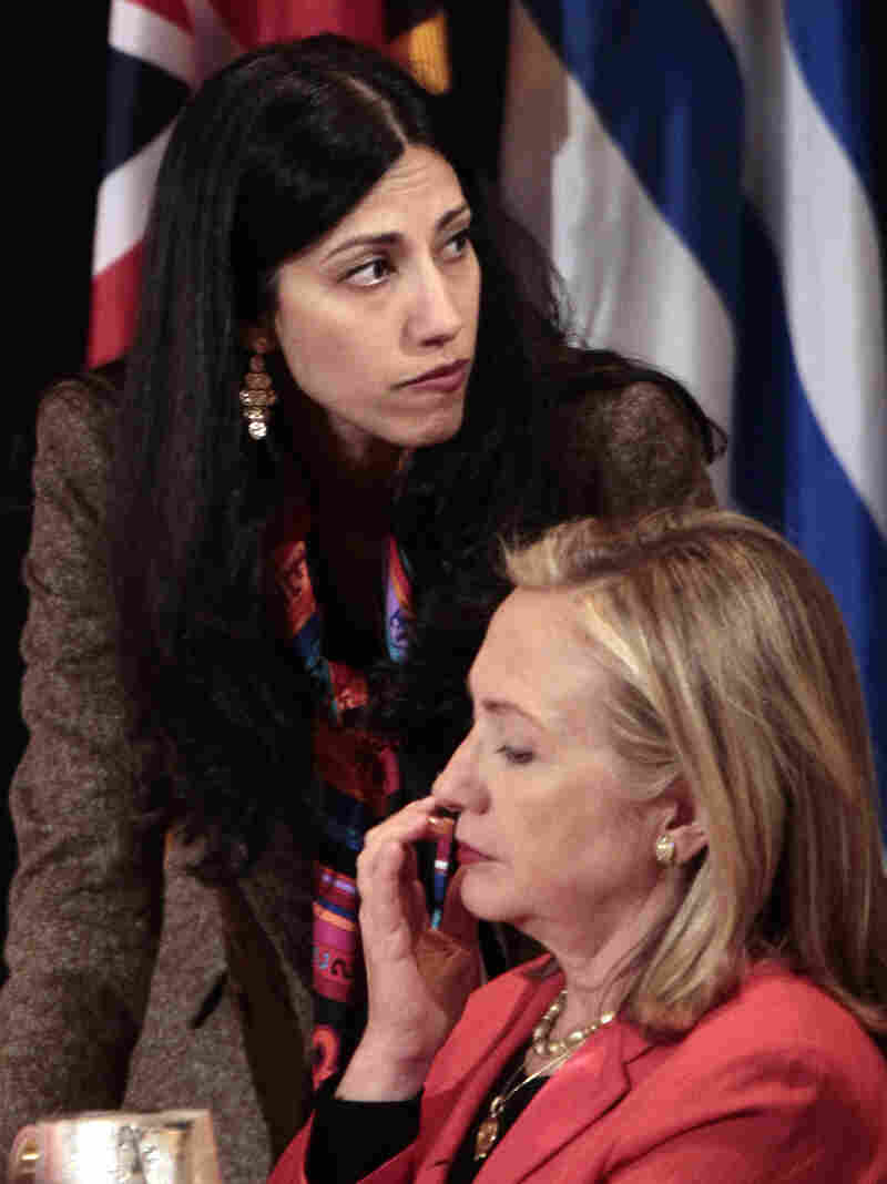 Secretary of State Hillary Clinton with aide Huma Abedin in September 2011.