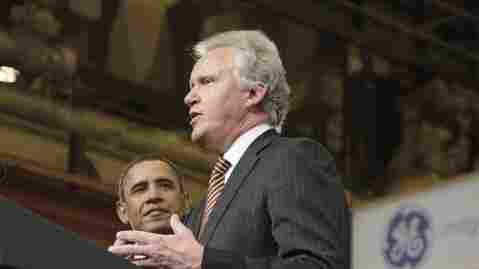 "General Electric CEO Jeffrey Immelt and President Obama speak at a GE plant in Schenectady, N.Y., on Jan. 21, 2011. Former Reagan administration official David Stockman, who is writing a book on the topic, calls Immelt the ""poster boy for crony capitalism."""