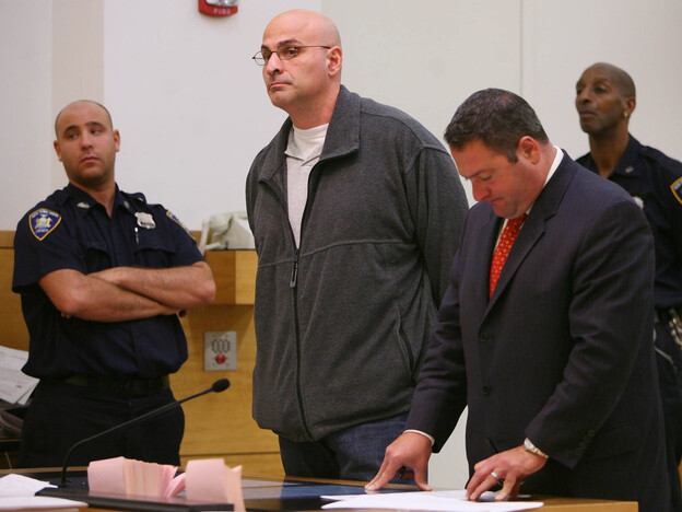 Michael Mastromarino (center) appeared in a New York City courtroom for sentencing on charges of corruption, body stealing and reckless endangerment, as the mastermind behind a scheme to loot hundreds of corpses and sell bone and tissue for transplants. (AP)