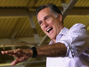 Republican presidential candidate Mitt Romney speaks at a campaign rally at Horizontal Wireline Services July 17 in Irwin, Penn.