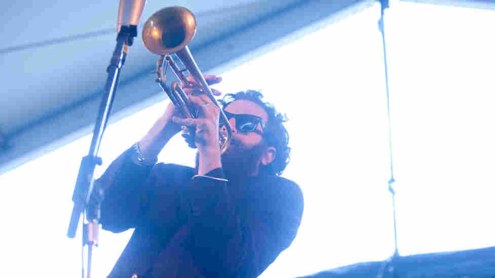 Avishai Cohen performs with his trio, Triveni, on the Harbor Stage during the Newport Jazz Festival.
