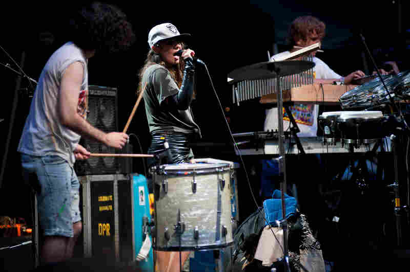 Gang Gang Dance, an experimental dance and electronica band from New York City, played to a hometown crowd during this outdoor concert at the Prospect Park Bandshell for Celebrate Brooklyn.