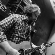 Jonathan Coulton, resident musician for Ask Me Another, backstage before the show's final taping during season one at The Bell House in Brooklyn, NY.