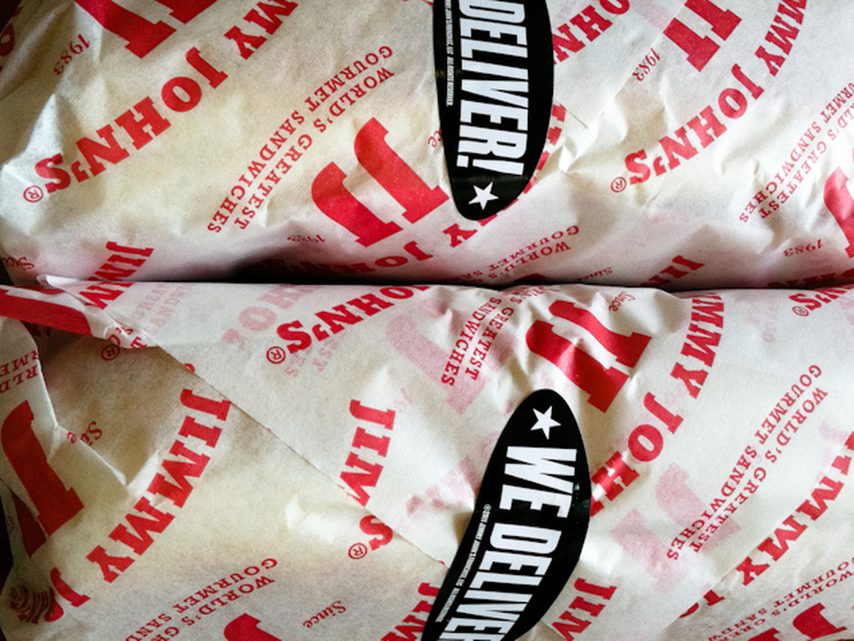 Jimmy John's sandwiches, wrapped and ready to go.