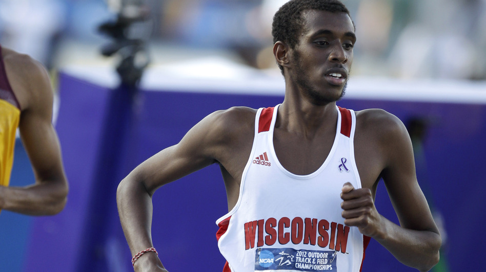 Mohammed Ahmed runs at the NCAA championships in June in Des Moines, Iowa. He's representing Canada at the Olympics and had to decide whether to fast for Ramadan this year. (AP)