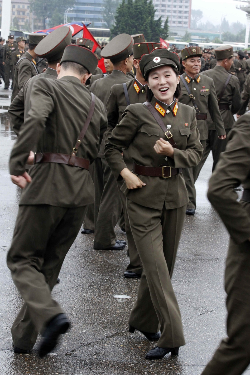 North Korean soldiers dance in the plazas of Pyongyang on Wednesday after the country announced that leader Kim Jong Un was granted the title of marshal. (AP)