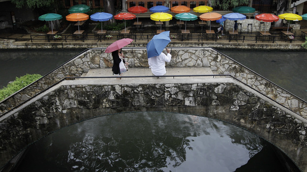Pedestrians stand along the River Walk in San Antonio, Texas, in May. The state has gotten a reprieve from more than a year of drought. (AP)