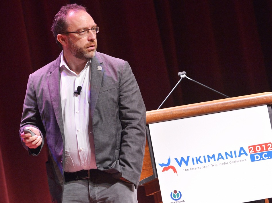 "Wikipedia founder Jimmy Wales speaks during ""Wikimania 2012,"" an international Wikimedia conference, in Washington, D.C."