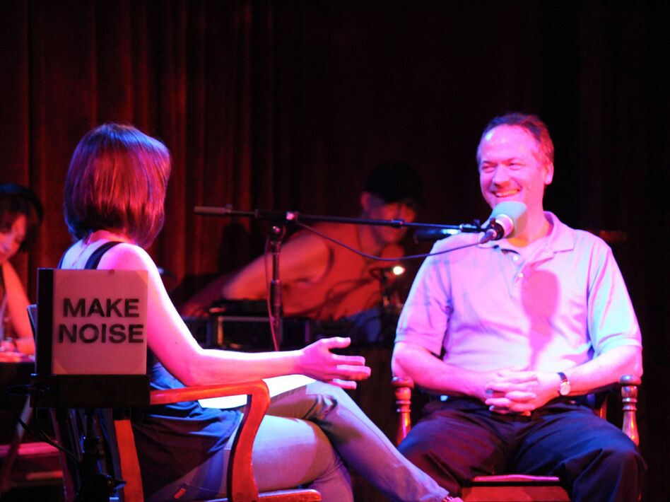 Puzzle master Will Shortz on the Ask Me Another stage. (NPR)
