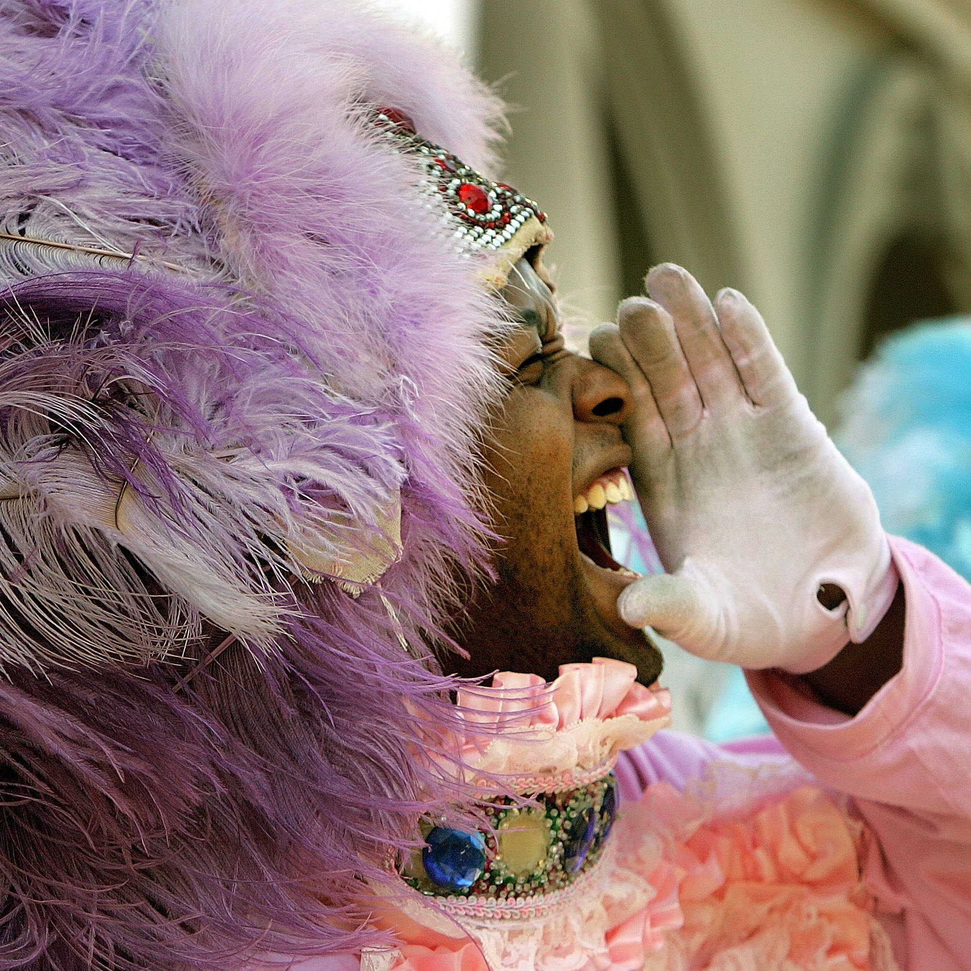 "Second Chief ""Lil Bo"" performs with the Wild Magnolias in New Orleans in 2006."