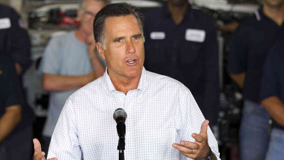 Mitt Romney speaks at a campaign stop