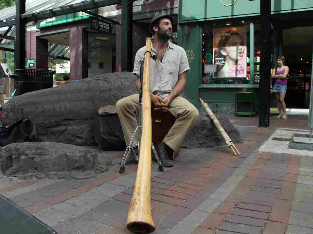 "Michael ""Tree"" Sampson plays the didgeridoo on the streets of Burlington, Vt."