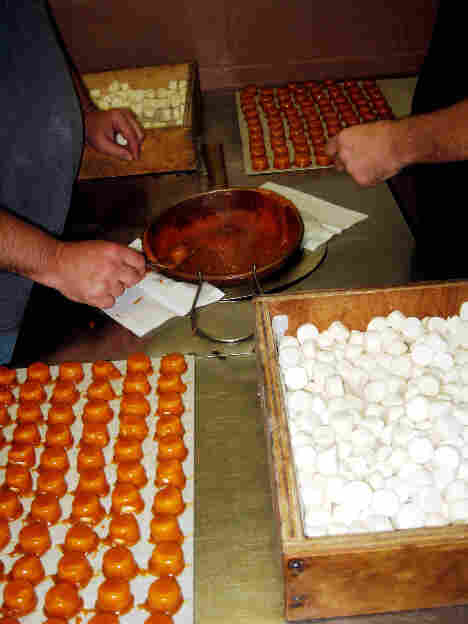 Muth's Candies sells thousands of pounds of Modjeskas annually. Each marshmallow is dipped in a secret caramel mixture by hand.
