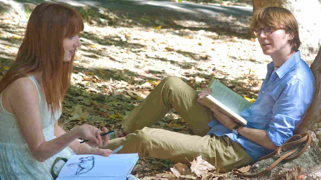 Ruby (Zoe Kazan) comes to life when Calvin (Paul Dano) begins writing her into existence on his typewriter in Ruby Sparks. Kazan also wrote the new romantic comedy from the directors of Little Miss Sunshine.