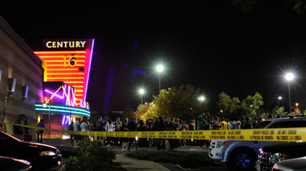 """Calls to police started coming in at about 12:30 a.m. from a theater in Aurora, Colo., showing """"The Dark Knight Rises."""" (The Denver Post via AP)"""