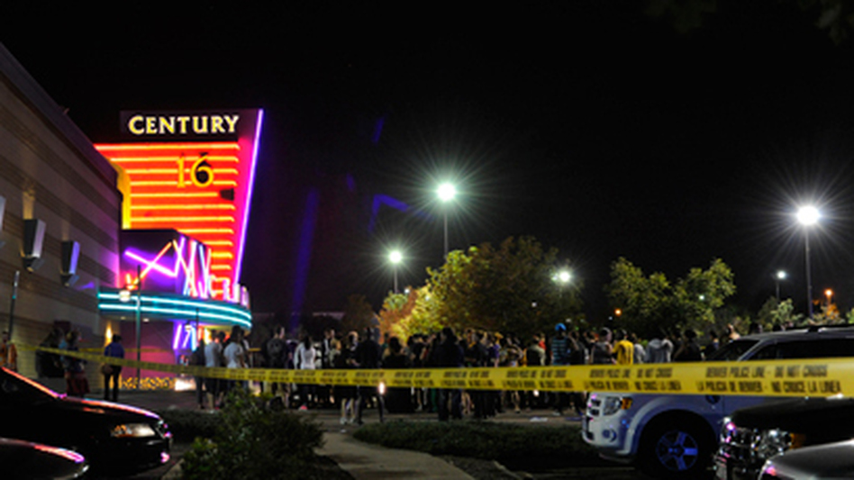 "Calls to police started coming in at about 12:30 a.m. from a theater in Aurora, Colo., showing ""The Dark Knight Rises."" (The Denver Post via AP)"