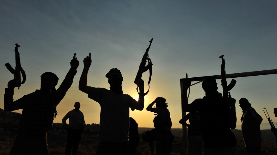Members of the group Hamza Abdualmuttalib trained this week near the Syrian city of Aleppo. (AFP/Getty Images)