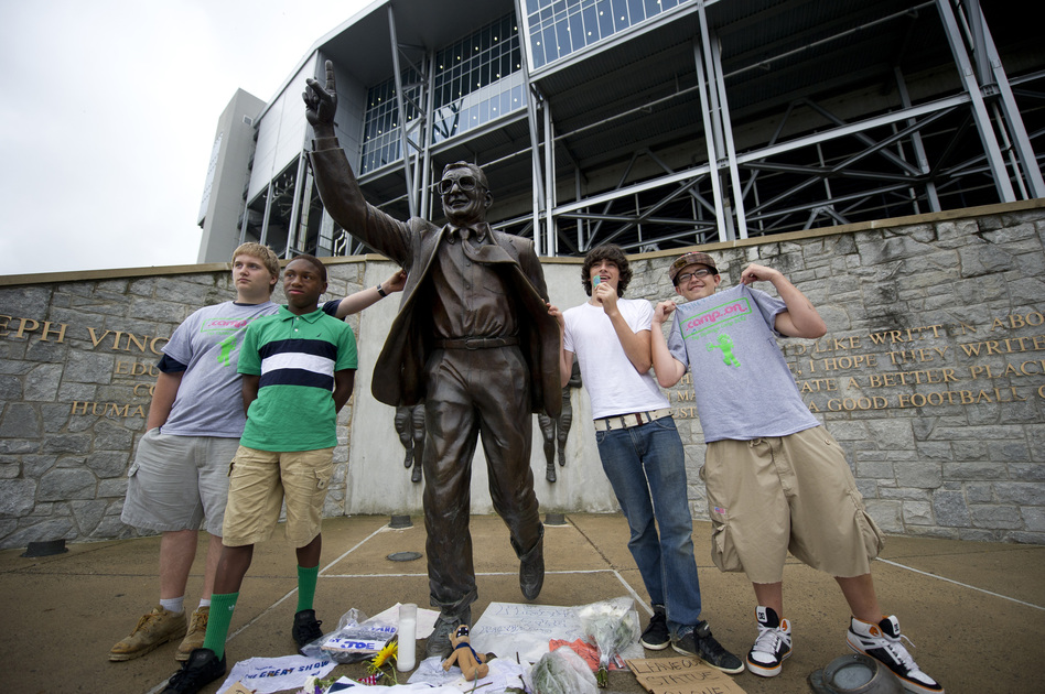 "One student had even vowed to ""chain myself to that statue"" if there was an attempt to remove it, but there was no attempt to stop the work Sunday. (Getty Images)"