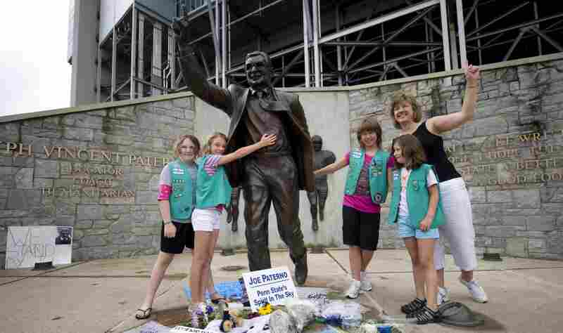 """Some newspaper columnists have said the statue should be taken down, while a small plane pulled a banner over State College reading, """"Take the statue down or we will."""""""