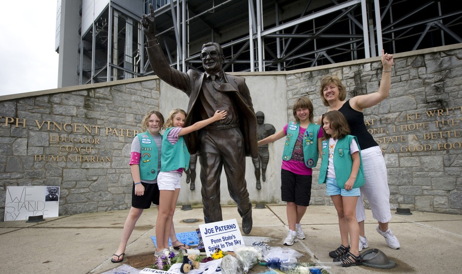 "Some newspaper columnists have said the statue should be taken down, while a small plane pulled a banner over State College reading, ""Take the statue down or we will."" (Getty Images)"
