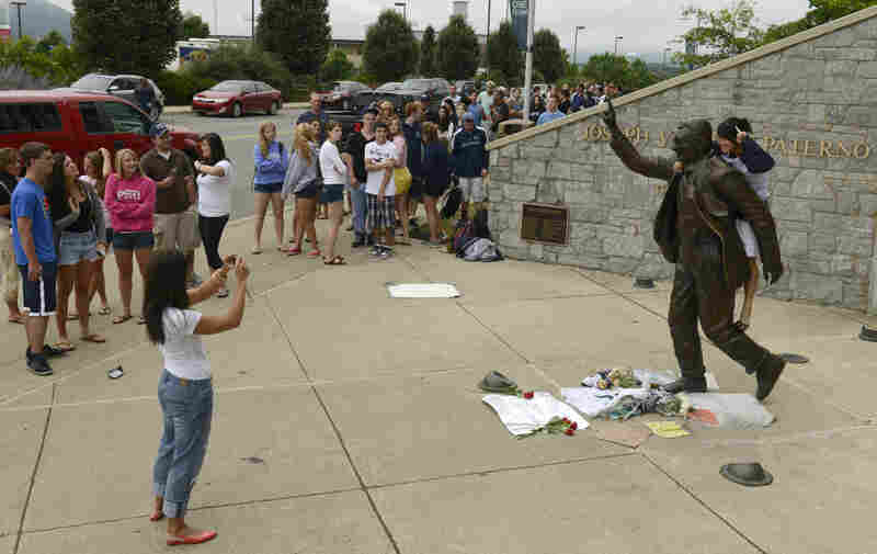 """Penn State President Rod Erickson said he decided to have the statue removed and put into storage because it """"has become a source of division and an obstacle to healing."""""""