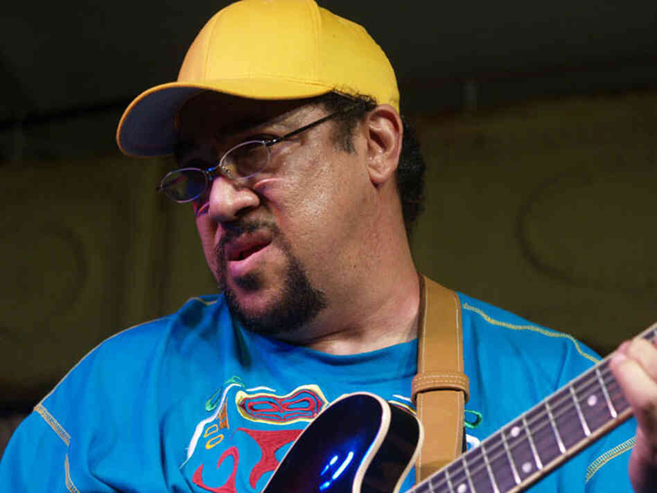 Leo Nocentelli of The Meters performs at the 2008 Voodoo Music Experience festival, held in New Orleans City Park.