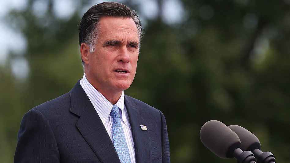 Republican presidential candidate Mitt Romney speaks in Bow, N.H., on July 20. On his upcoming trip, Romney plans to make stops in the United Kingdom, Israel and Poland. (Getty Images)
